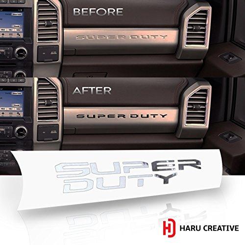 Haru Creative - Ford Super Duty F250 F350 F450 (2017-2018) Glove Box Dashboard Letter Insert Overlay Vinyl Decal - Chrome Silver - Used Ford Super Duty