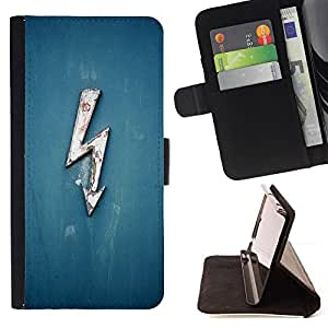 For HTC One Mini 2/ M8 MINI Electricity Blue Lightning Ac Dc Voltage High Style PU Leather Case Wallet Flip Stand Flap Closure Cover