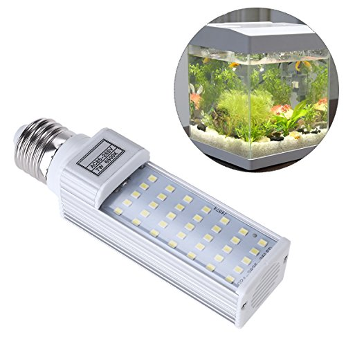 UEETEK 7W E27 LED Energy Saving Lamp to Fit All Fish Pod and Fish Box Aquariums (White)