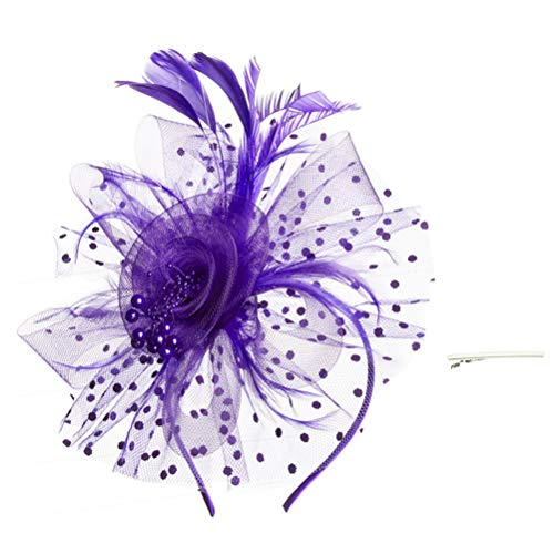 SAFERIN Fascinator Hat Feather Mesh Net Veil Party Hat Flower Derby Hat with Clip and Hairband for Women (TA8-Purple)