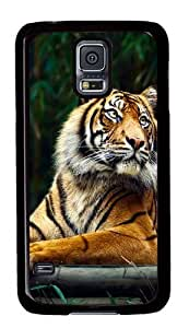 Rugged Samsung Galaxy S5 Case and Cover - Siberian Tiger Custom Design PC Case Cover for Samsung Galaxy S5 - Black