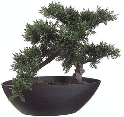 14.5'' Artificial Bonsai Tree Plant Topiary In Outdoor Patio Deck Arrangement Ivy by Black Decor Home