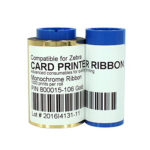 800015-106 Gold Monochrome Ribbon For Zebra iSeries ID Card Printer 1000 Prints