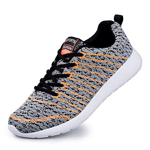 Nelson Kent Zapatillas Deportivas De Running Para Hombre De Moda Casual Slip-on Walking Shoes Para Estudiantes Gray Orange