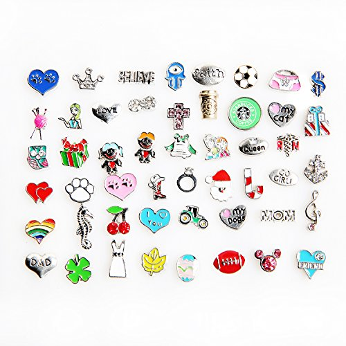 50 Pcs Mixed Random Floating Charms for Glass Living Memory Lockets Origami Owl Lockets DIY Wholesale Gold and Silve By ()
