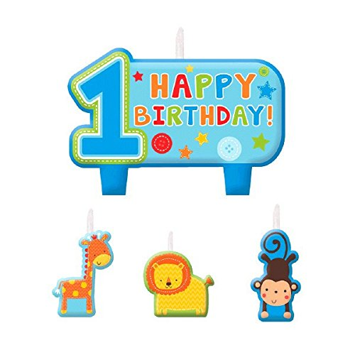 Amscan One Wild Boy 1st Birthday Candle Set, Medium, Blue ()