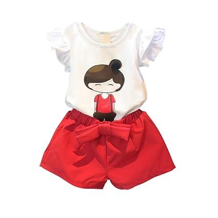 exiu bebé niñas trajes de verano impreso Top camiseta vestido + corto pantalones ropa blanco roto