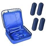 Goldwheat Insulin Cooler Travel Bag Waterproof Diabetic Care Organizer Portable Medical Cooler Pack + 4 Ice Packs (Blue)