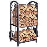 Pinty Heavy Duty Firewood Log Rack Firewood Storage Fireplace Tool Set with...