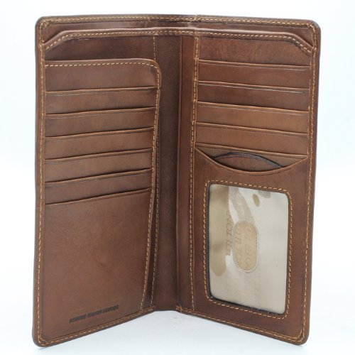 Mens Long Bifold Checkbook Cover Wallet Multi Card Pocket Holder Italian Leather