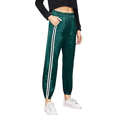Donna Jogging Casual Da Sportiva Chiudi Stripe Palestra Motion Con Raso Movimento Yoga Sportivi Il Odjoy Lunghi Fan Lucido Pantaloni Tensione Piede pVSMqUz