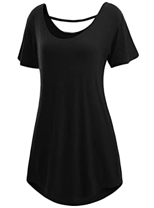OURS Women's Cross Back Basic Short Sleeve Comfy Loose Fit Long Tunic Top