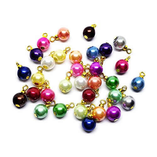 Beading Station Handcrafted Beaded Pre-served Pieces ~ Create Your Own Jewelry in an Easy Way ~ (32pcs Gold Pearl Drops 8mm)