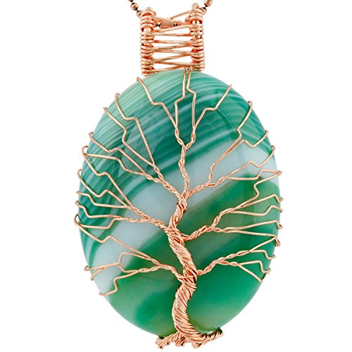 - SUNYIK Green Striped Agate Oval Tree of Life Pendant Necklace
