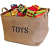 "Jute ""TOYS"" 17""Long x 13"" Wide(3 SIZES) Storage Bin - Storage Baskets for organizing Baby Toys, Kids Toys, Baby Clothing, Children Books, Gift Baskets (Large)"