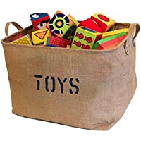 "Jute Storage Bin 17 x 13 x 10"" perfect for Toy Storage. Storage Basket for..."