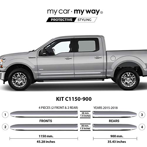 MY CAR MY WAY (Fits) Ford F-150 5.5' Box Supercrew 2015-2018 Chrome Body Side Molding Cover Trim Door Protector