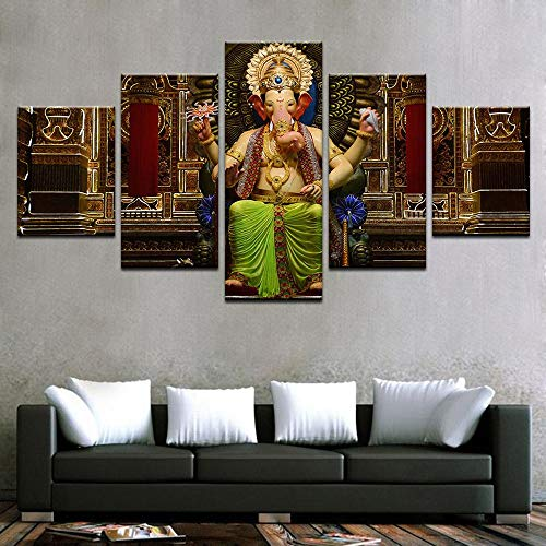 PEACOCK JEWELS [Large] Premium Quality Canvas Printed Wall Art Poster 5 Pieces / 5 Pannel Wall Decor Happy Ganesh Painting, Home Decor Pictures - Stretched