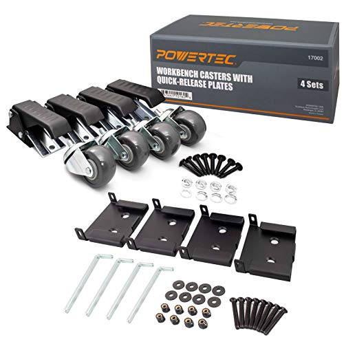 POWERTEC 17002 Workbench Casters with Quick-Release Plates, 4 Sets, Black