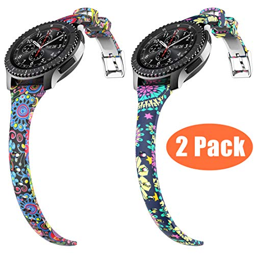 Gear S3 Bands, for Women Silicone Watch Bands Narrow Girls Rubber Watch Strap Quick Release Flowers Replacement Wristband Metal Clasp Samsung Gear s3 Frontier/s3 Classic Smart Watch (2 pcs, 22mm)