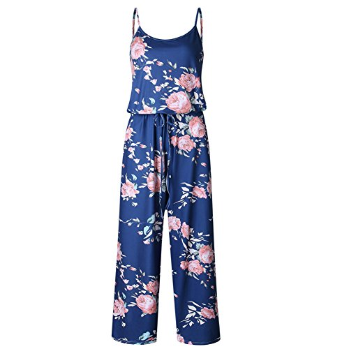 Petite Size Jumpers - Artfish Women Sexy Sleeveless Spaghetti Strap Floral Printed Summer Jumpers Jumpsuit Rompers (M,Dark Blue)