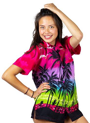Funky Hawaiian Blouse, Beach, pink, XXL