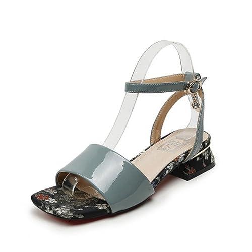 e38d3ad190e0a Sandales à Talons Femmes - Mode Sandale Bout Carré Été Beide Cheville  Élégant Ouvert Chaussures  Amazon.fr  Chaussures et Sacs