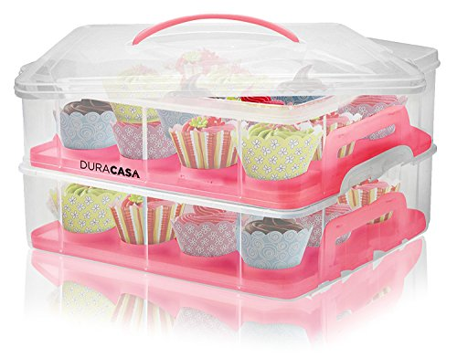 DuraCasa Cupcake Carrier, Cupcake Holder - Store up to 24 Cupcakes or 2 Large Cakes | Stacking Cupcake Storage Container | Cupcake, Cookie, or Cake Dessert Carrier (Red)