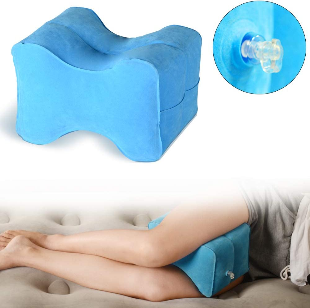 WEY/&FLY Orthopedic Inflatable Knee Pillow Hip Travel Best in Comfort /& Design for Women Leg and Joint Support Cushion for Side Sleepers Wedge Leg Pillow Multi Position Use for Back