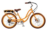 """Pedego Comfort Cruiser 26"""" Step Thru Orange with Brown Balloon Package 36V 15Ah"""