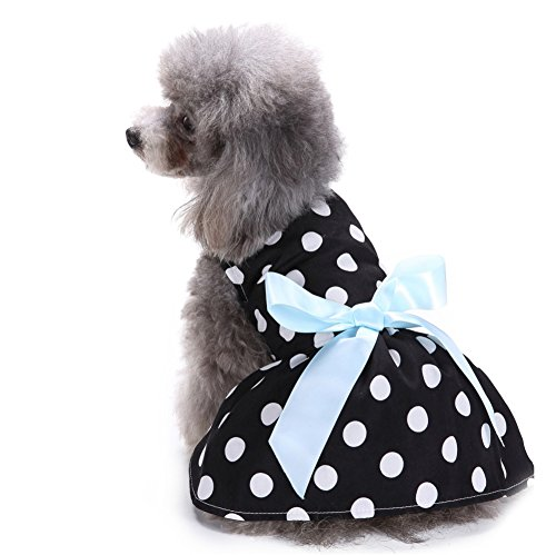 L-Peach Pet Clothes Dog Apparel Puppy Skirt Cat Pet Dress Skirt Princess Dress for Small Dogs Black (Princess Peach Dog Costumes)