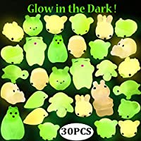 Outee Mochi Animals Stress Toys, 30 Pcs Mini Squishies Mochi Squishies Toys Mochi Cat Glow in The Dark Squishies Squeeze Relief Stress Toys for Kids Adults Xmas Gifts