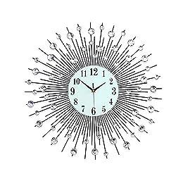 Anysell88 33CM Crystal Wall Clock Diamante Beaded Jeweled Round Sunburst Modern Lifestyle Wall Clock 36pcs Diamond for Living Room & Home