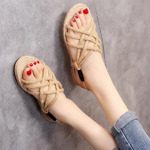 Nero Donna Paglia Antiscivolo Mano Infradito da Corda di a Pantofola Scarpe Tessute Evedaily Sandali Spiaggia Leggero TxFZCCd