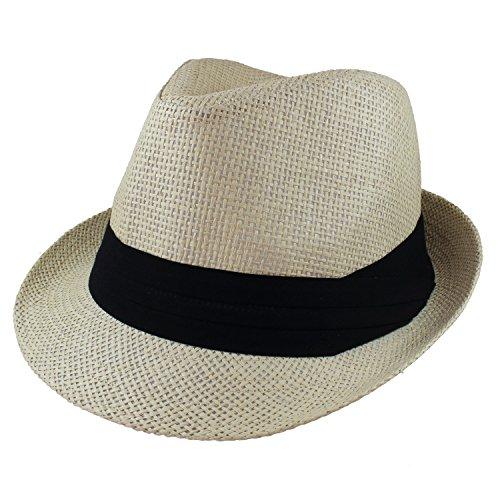 Gelante Summer Fedora Panama Straw Hats with Black Band M215-Beige-L/XL