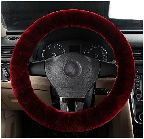 Winter Wheel Packages (Bellesie Universal Warm Winter Genuine Wool Sheepskin Car Steering Wheel Cover Cushion Protector for 35cm-43cm Steering Wheel in Diameter (Wine Red))