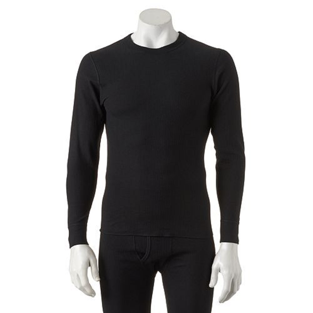 Hane's Ultimate X-Temp Tagless Thermal Crew Neck XL Black by Hanes