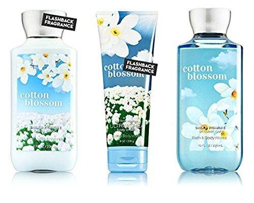 Bath & Body Works Cotton Blossom Body Cream, Shower Gel and Body Lotion Gift Set ()