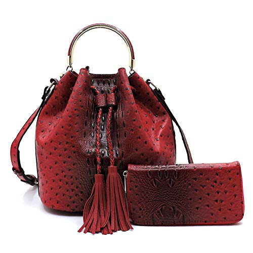 (2 PC Set Ostrich Croco Embossed Vegan Faux Leather Cross body Bucket Handbag Purse with Matching Wallet (Red) )