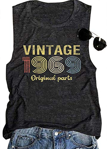 50th Birthday Gift Tank Tops for Women Vintage 1969 Original Parts Rock Legend Shirt Summer Casual Music T Shirt (Medium, Dark Grey) ()