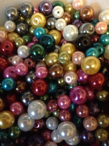Beads Seed Premium (Cocoa's Accessories Glass Pearls Lamp Work Colorful Bead Mix 100 total of 4mm, 6mm,& 8mm, Free Shipping,)