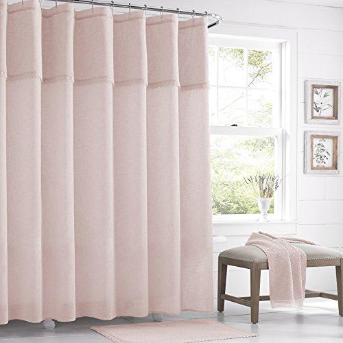 Five Queens Court Sonia Semi-Sheer Crochet Trim Shower Curtain, Shabby Chic, Blush