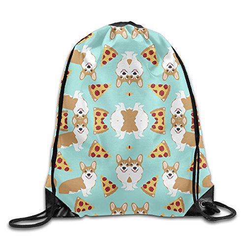 Dunh Dog And Pizza Gym Sack Bag Drawstring Backpack Sport Bag