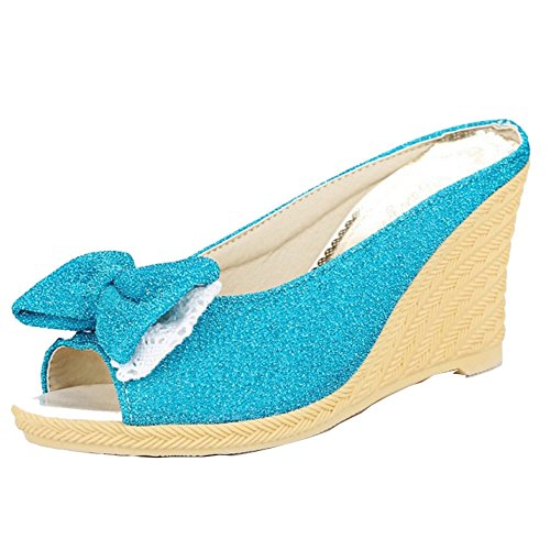 TAOFFEN Women Fashion Peep Toe Wedges Sandals Slipper Beach Shoes with bow Blue VV8Is2UF3N