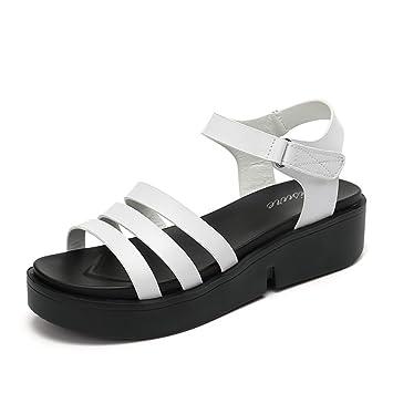 Chaussons HAIZHEN chaussures pour femmes 7 cm Sandales et pantoufles Chaussures féminines talons hauts (Noir/Blanc) Pour femmes (Couleur : Blanc, taille : EU36/UK3.5/CN35)
