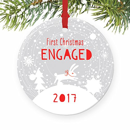 1st Christmas Engaged Ornament 2017, Winter Engagement Gift Porcelain Ornament, 3 Flat Circle Christmas Ornament with Glossy Glaze, Red Ribbon  Free…