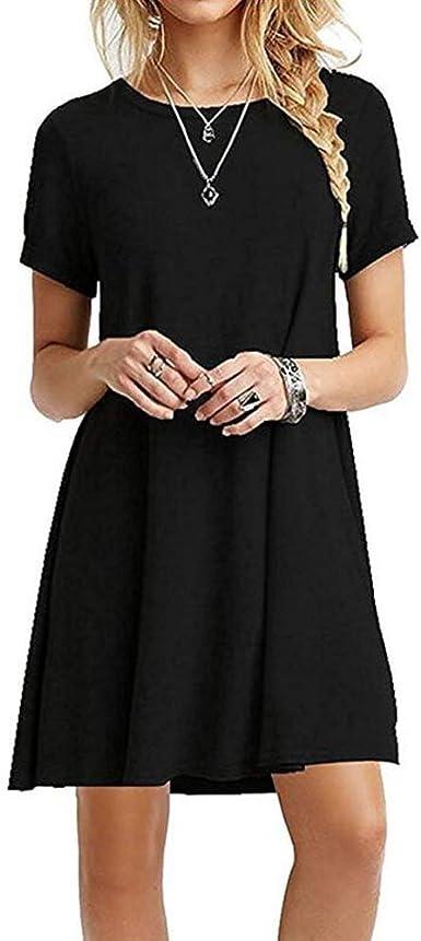 TALLA S. ZNYSTAR Mujeres Suelto Casual Vestido de Camiseta Cuello Redondo Negro