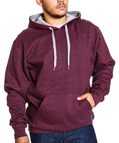 Spalding Mens Comfort Fleece Pullover Hooded Sweatshirt Wine Red Heather Gray (Card Kids Sweatshirt)