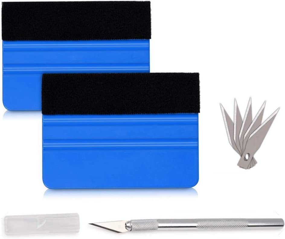 10pcs Felt Edge Squeegee DIY Applicator Tool for Car Vinyl Wrapping Window Film Tinting Decal Wallpaper Installation with 2pcs Small Scraper Gift Magicalmai Vinyl Wrap Tool Kit