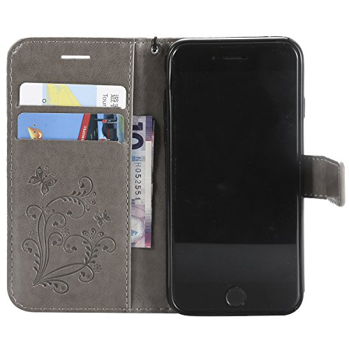 Magnetic Portable 8 Soft Pretty with Leather Wallet Stand iPhone Stylish for Case Body Herzzer Case Printed Red iPhone 7 3D Bookstyle Rubber Premium Carrying Leather for Flip Full Butterfly Gray Case Strap IFqgRI